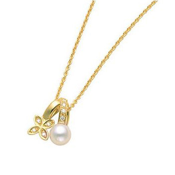 Mikimoto Akoya Pearl & Diamond Clover Gold Necklace