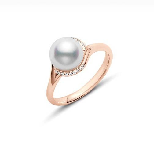 Mikimoto Akoya Pearl and Diamond Rose Gold Ring 8mm A+