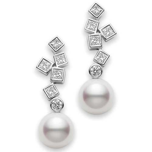 Mikimoto Akoya Pearl and Diamond White Gold Frost Earrings 7.5mm