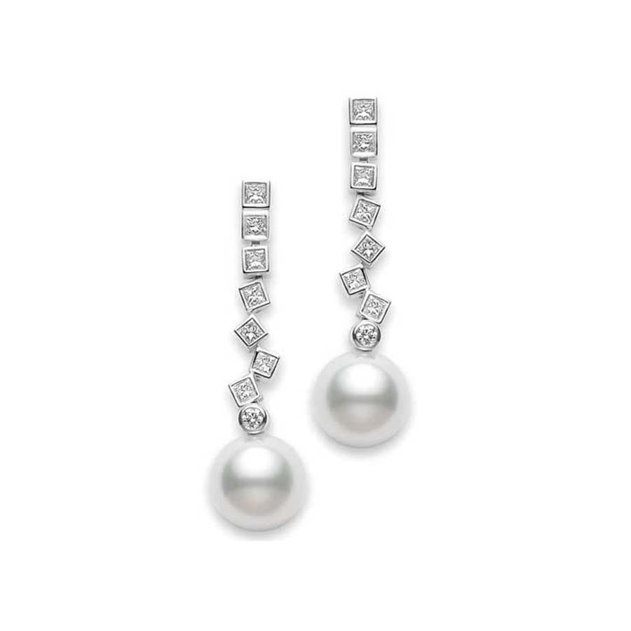 Mikimoto White Gold South Sea Pearl and Diamond Frost Earrings