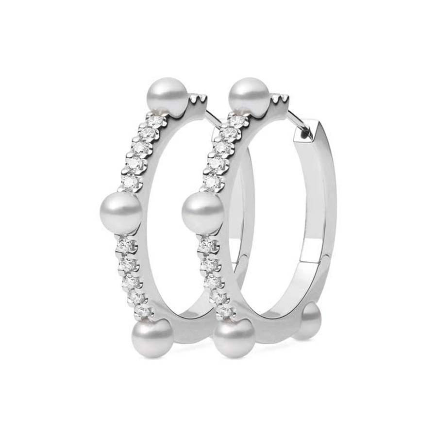 Mikimoto Akoya Pearl and Diamond White Gold Hoop Earrings