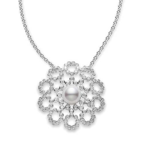 Mikimoto Akoya Pearl and Diamond White Gold Lace Pendant Necklace 7mm