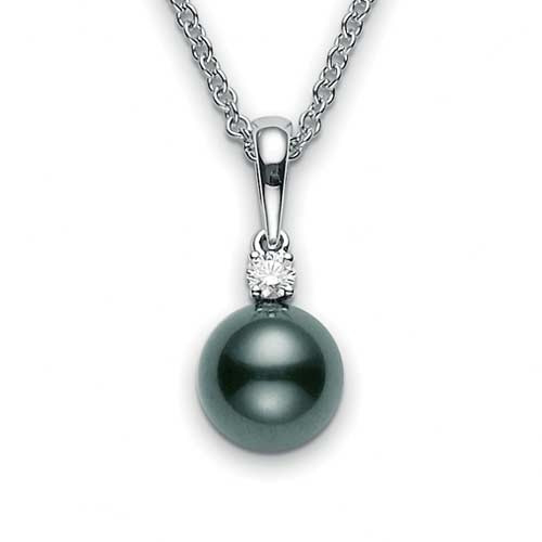 Mikimoto Black South Sea Pearl Pendant 9mm - 10mm close up