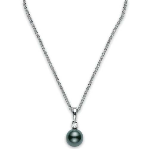 Mikimoto Black South Sea Pearl and Diamond White Gold Necklace 8.5 x 8mm