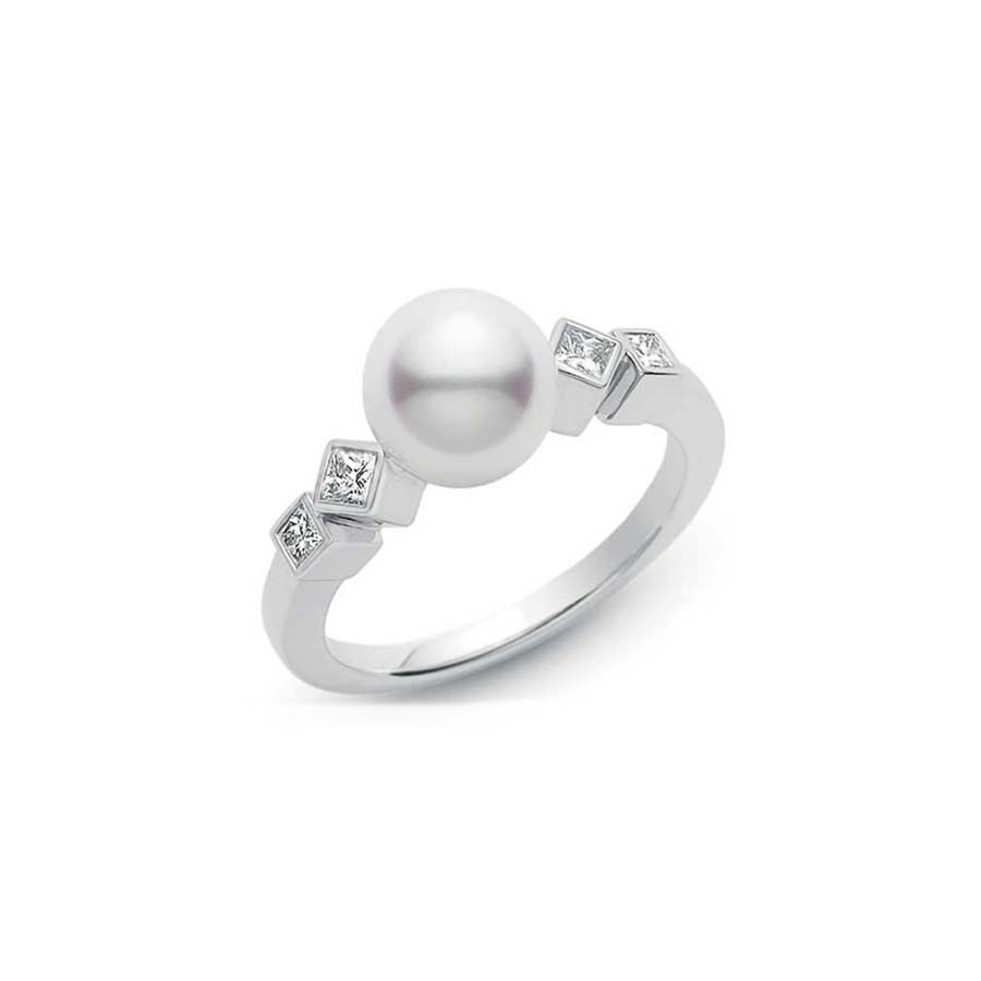Mikimoto Frost Akoya Pearl and Diamond White Gold Ring 8mm