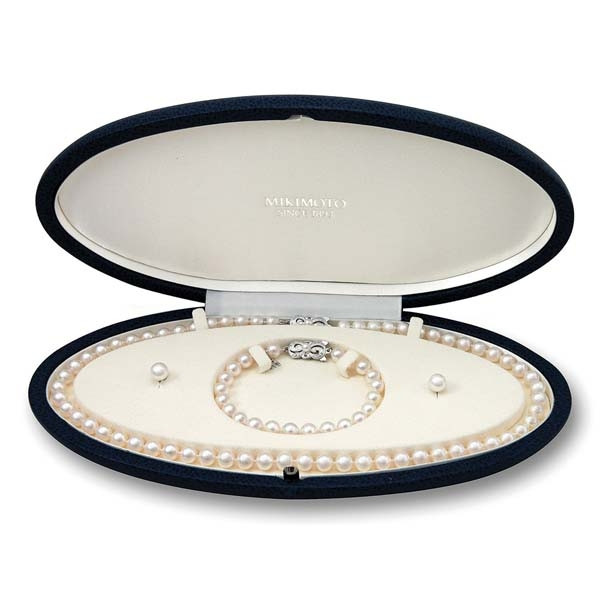 Mikimoto Akoya Pearl Necklace, Bracelet and Studs Box Set View