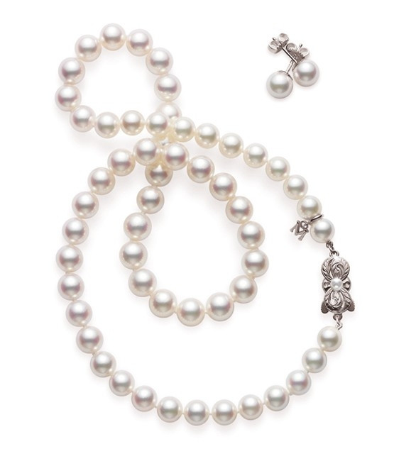 Mikimoto A1 Pearl Necklace and Stud Box Set