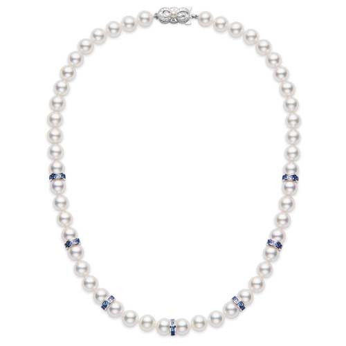 "Mikimoto Elements of Life Akoya Pearl and Blue Sapphire White Gold 18"" Ocean Strand Necklace"