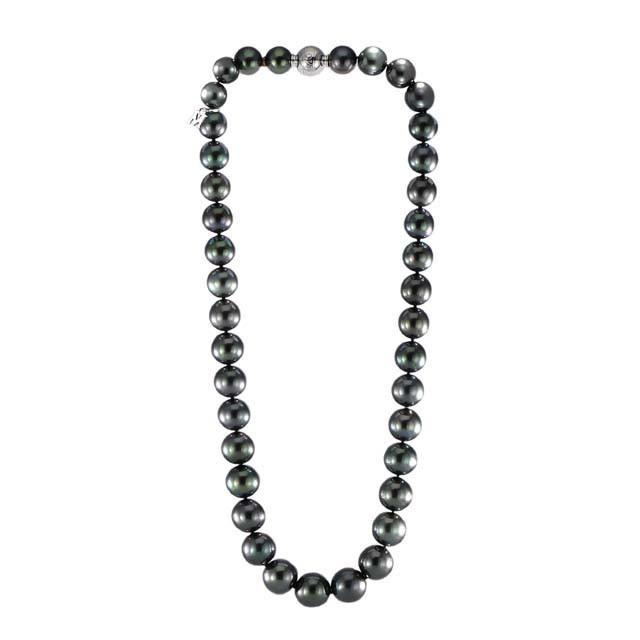 "Mikimoto Black South Sea Pearl 18kt White Gold 17.5"" Strand Necklace"