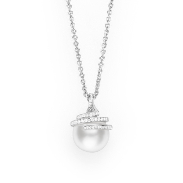Mikimoto Embrace White South Sea Pearl Diamond Pendant Necklace
