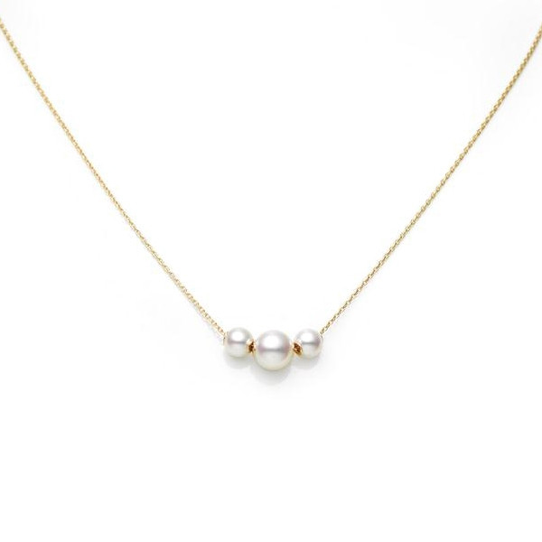 Mikimoto Three Pearl Station Necklace in Yellow Gold