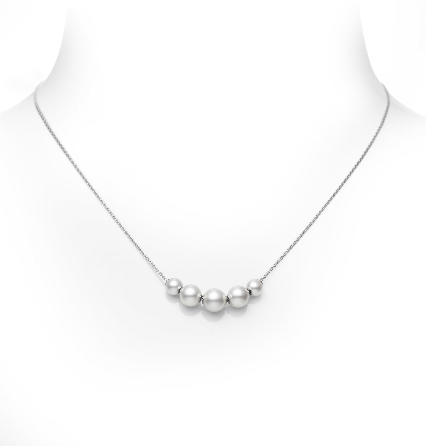 Mikimoto Five Pearl Station Necklace in White Gold
