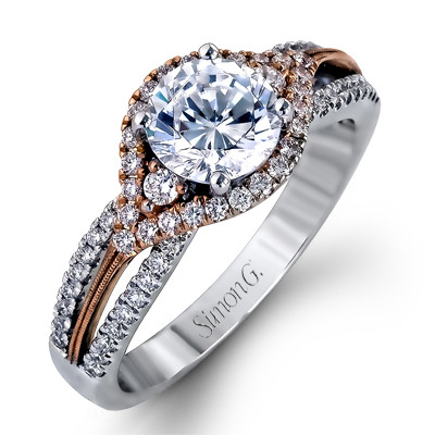 Simon G MR1815 Duchess Pave Twist Two Tone Engagement Setting