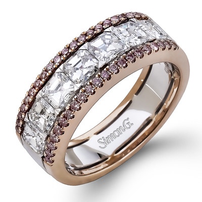 Simon G MR2339 Caviar Pink Diamond And Asscher Band