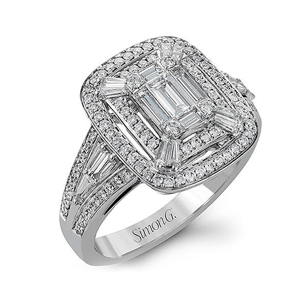 Simon G Mosaic Diamond Baguette Halo Ring