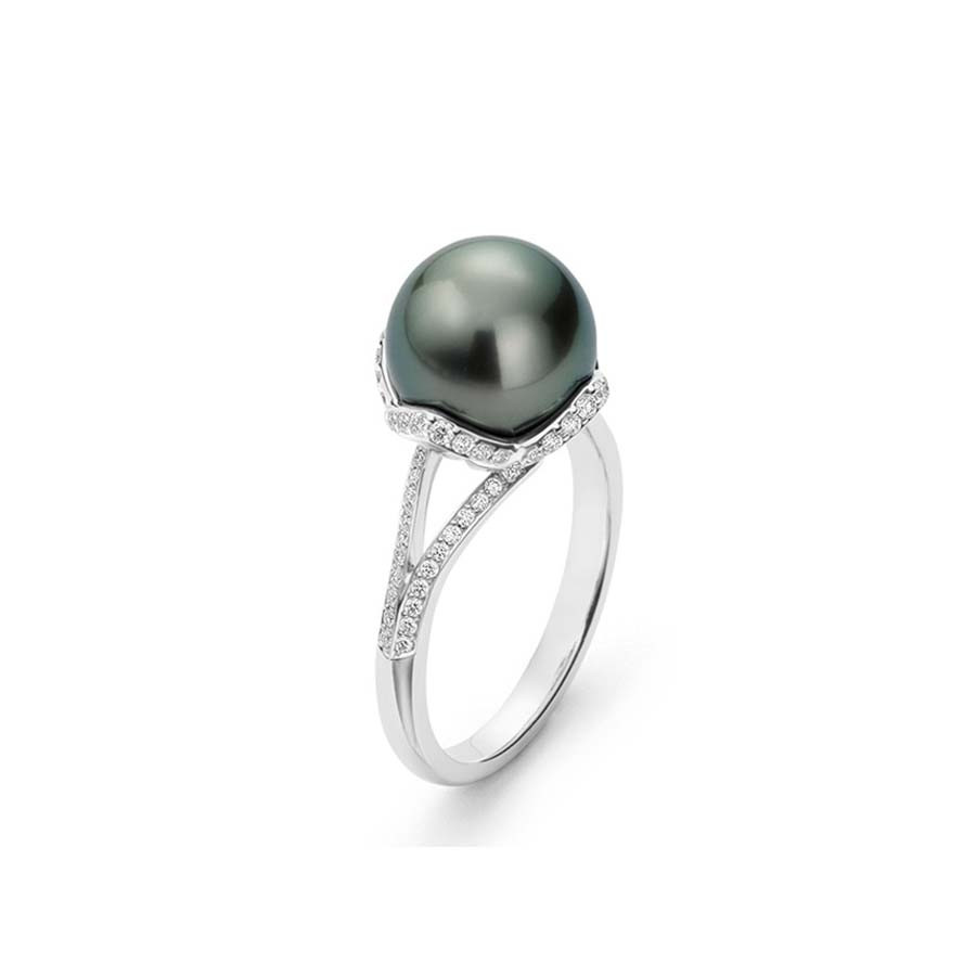 Mikimoto Embrace Black South Sea Pearl Diamond Ring Angle View
