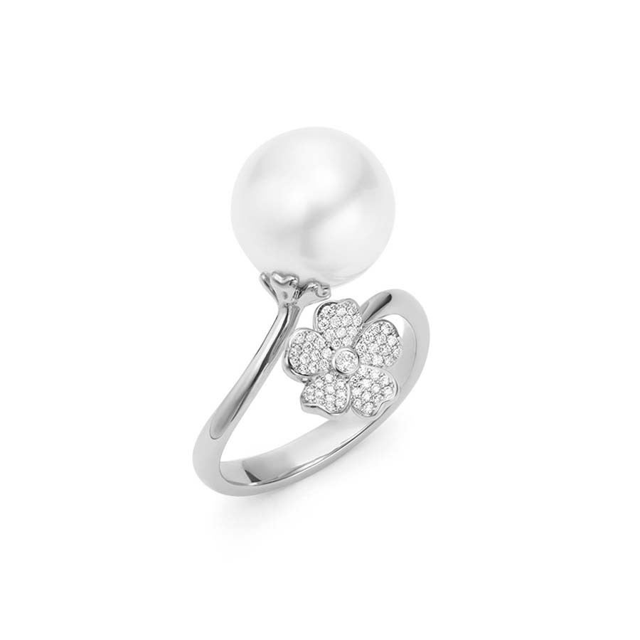 Mikimoto Pearl & Diamond Cherry Blossom Flower Bypass Ring