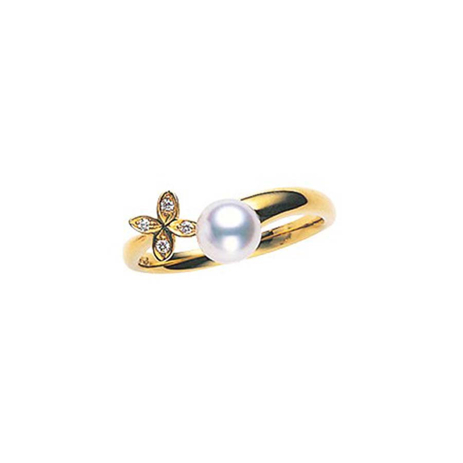 Mikimoto Yellow Gold Pearl & Diamond Flower Ring
