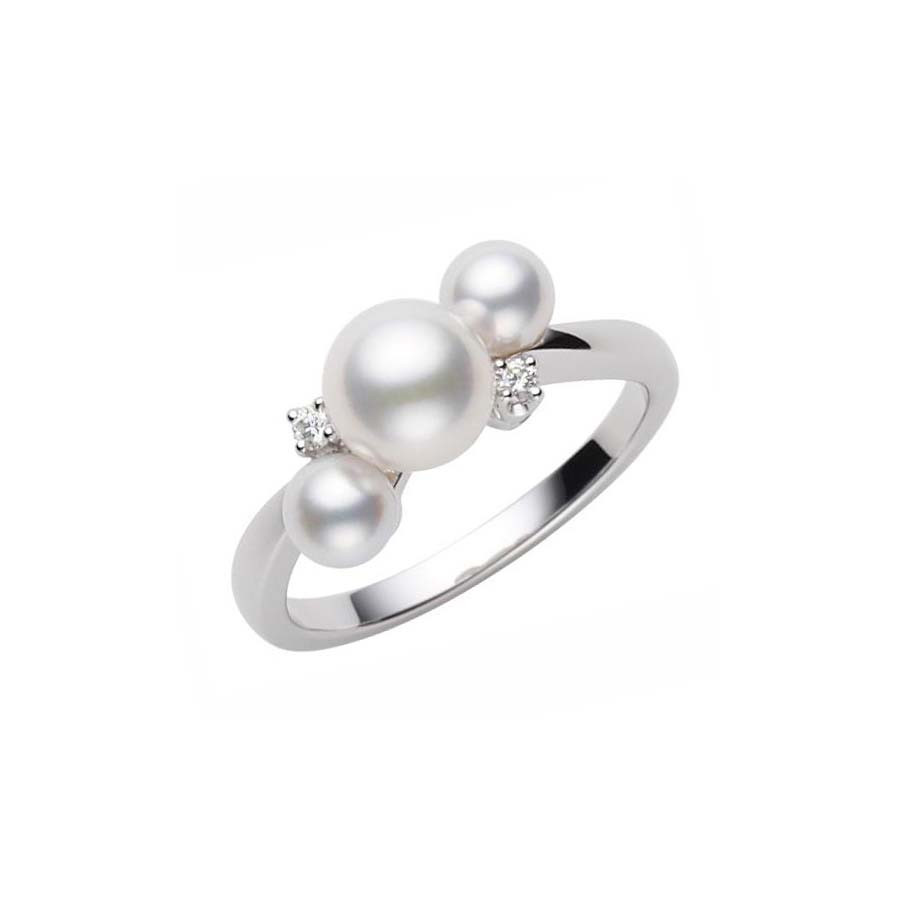 Mikimoto 18kt White Gold Akoya Pearl Two Diamond Ring