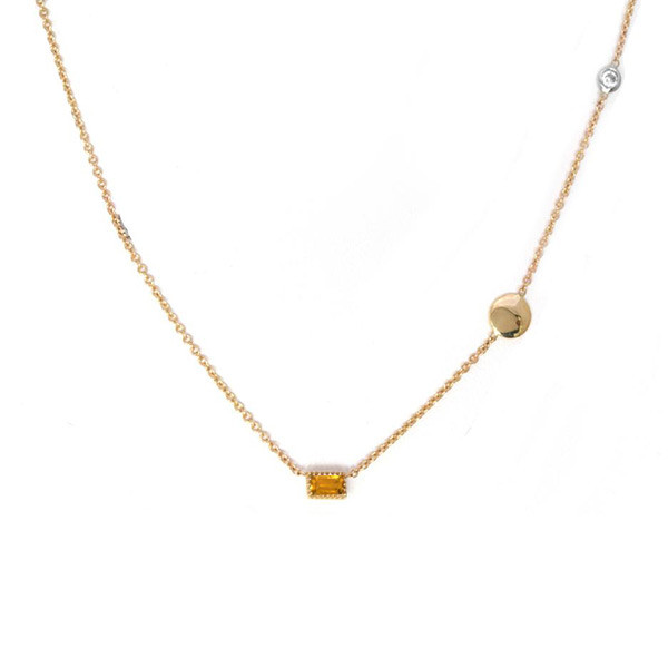 Citrine Pendant Station Necklace