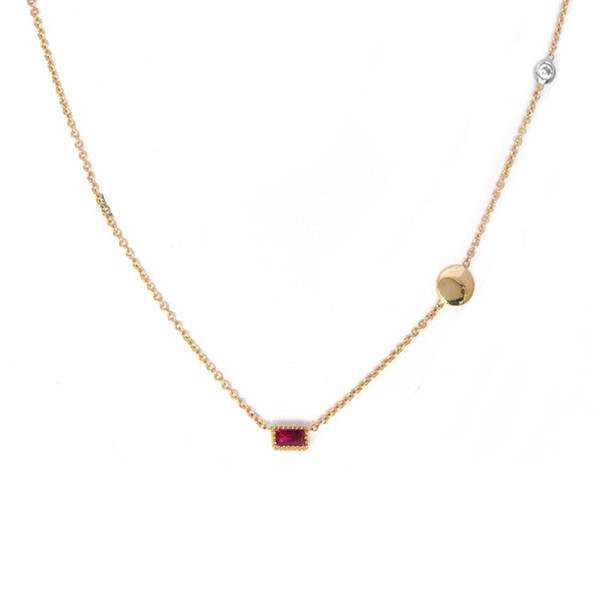 Ruby Pendant Station Necklace