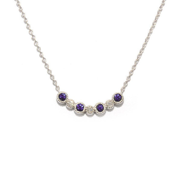 Amythyst Small Curved Station Necklace
