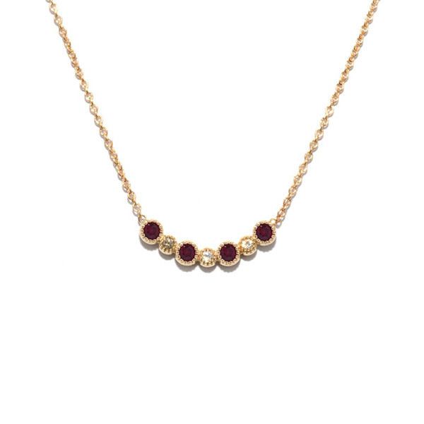 Garnet Small Curved Station Necklace