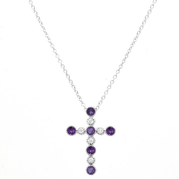 Amythyst Large Cross Necklace