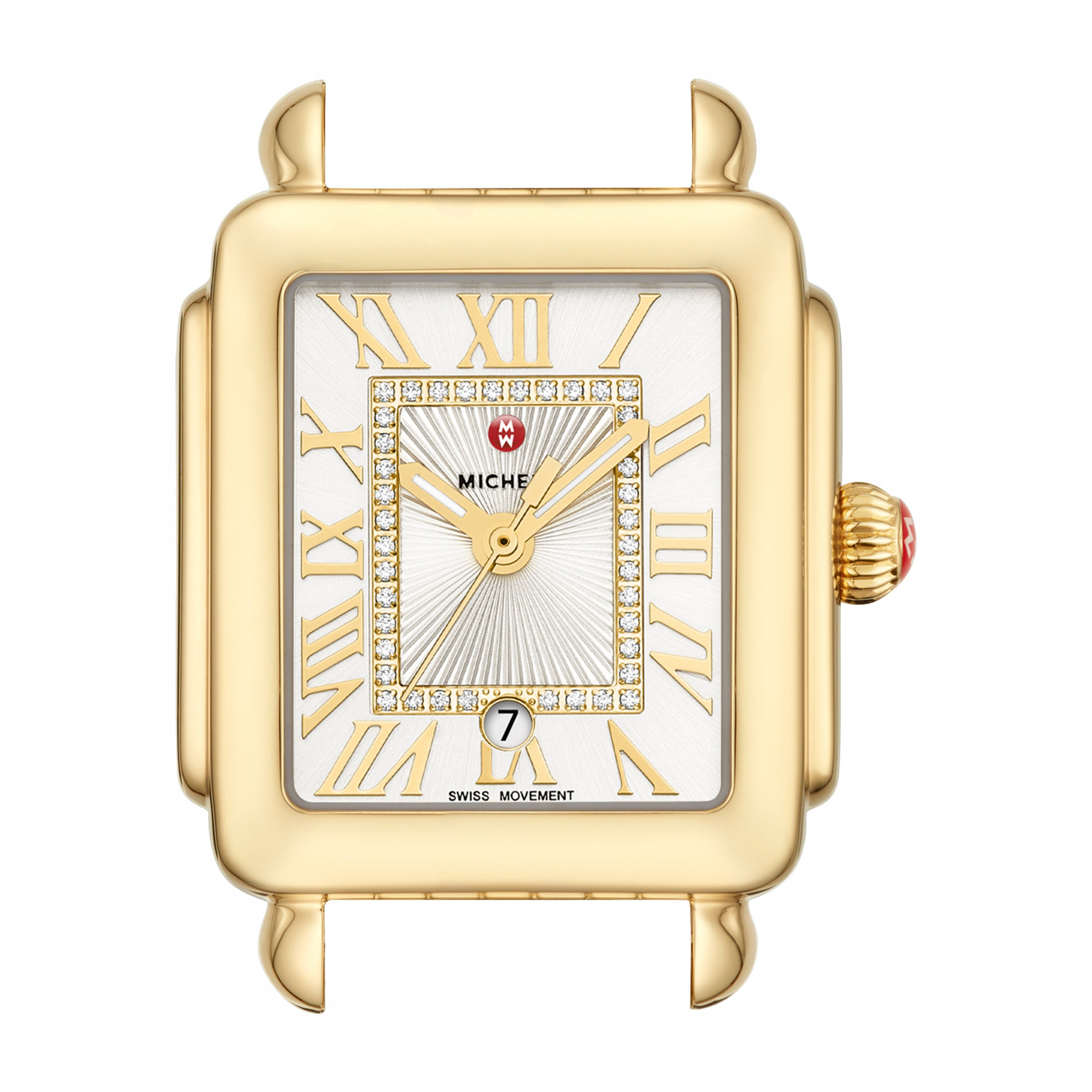 Michele Deco Madison Mid Diamond Dial Watch in Gold face view