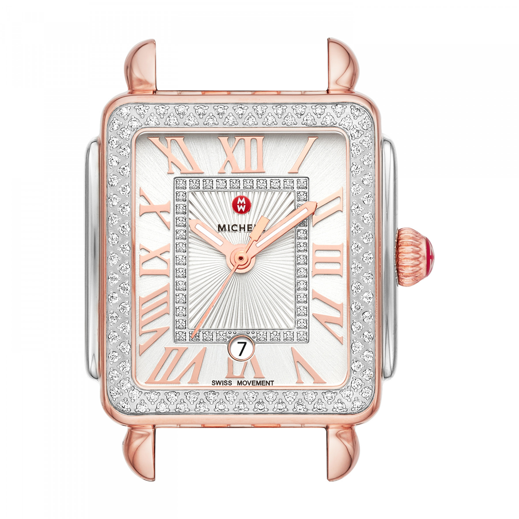 Michele Deco Madison Mid Diamond Dial Watch in Pink Gold and Steel face view