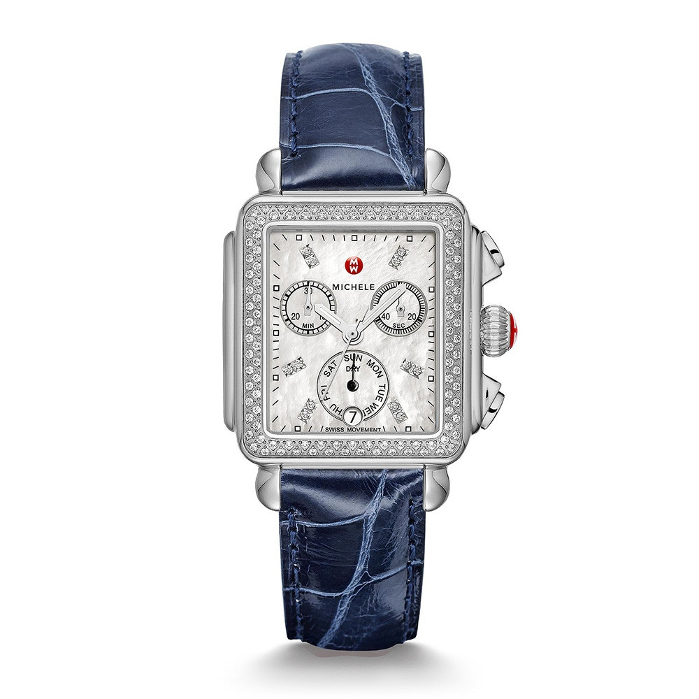 Deco Stainless Steel White Mother of Pearl & Diamond Michele Watch on Navy Alligator Strap