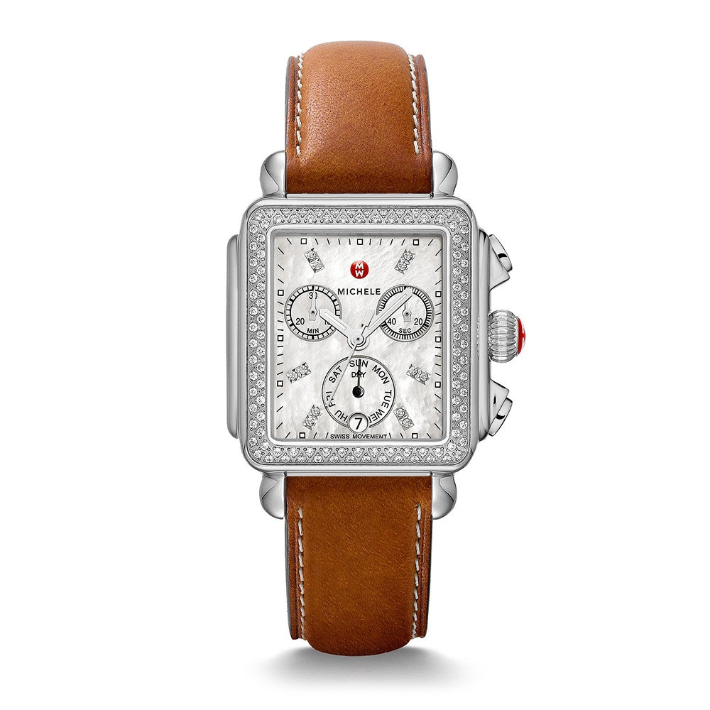 Deco Stainless Steel White Mother of Pearl & Diamond Michele Watch on Saddle Calfskin Strap