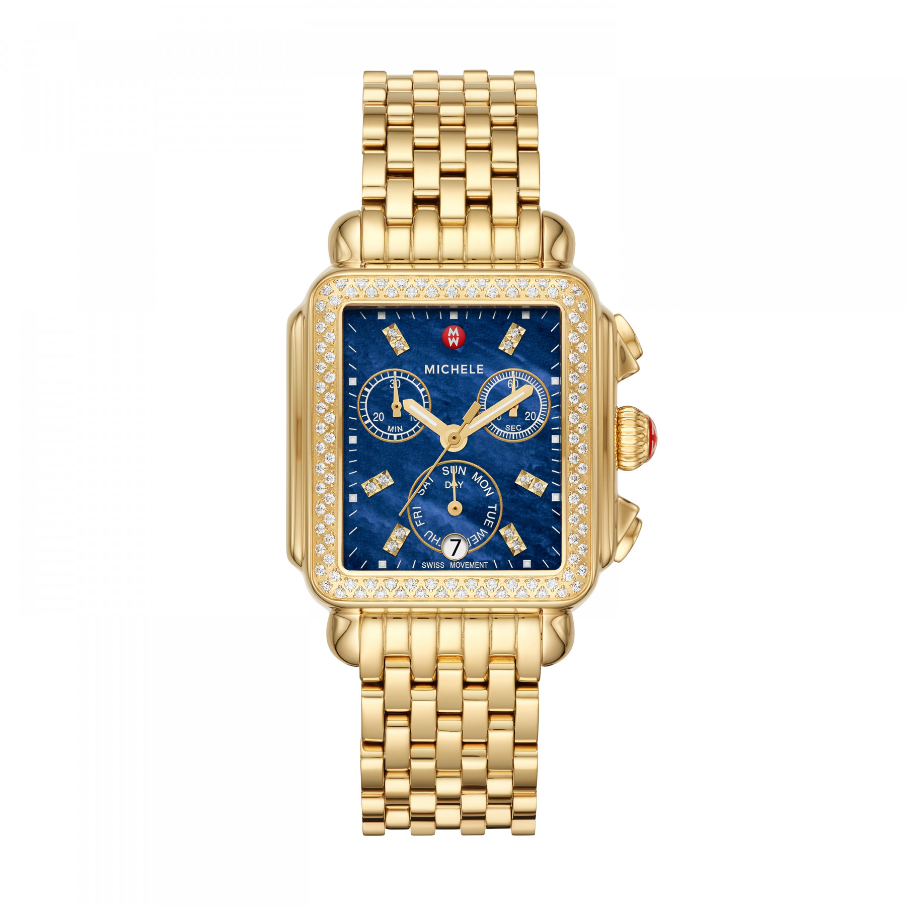 Sale The Deco Haus Tagged Blue: Michele Deco Blue Chronograph Diamond Dial Watch In Yellow