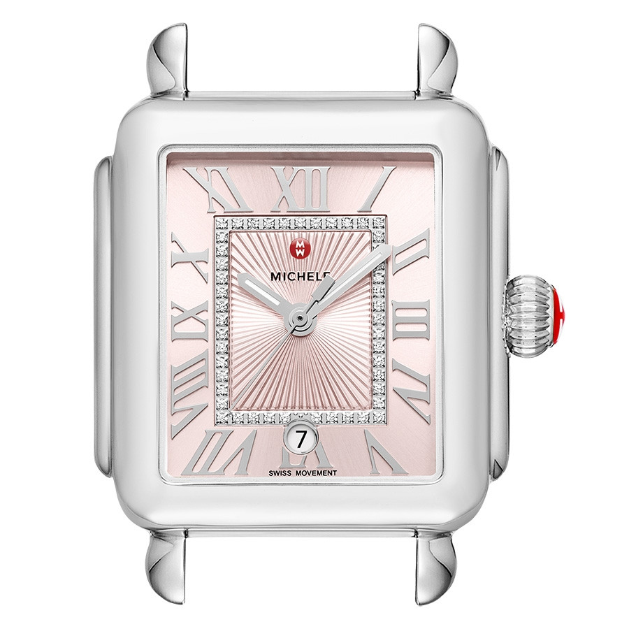 Michele Deco Madison Stainless Steel Blush Watch Dial With