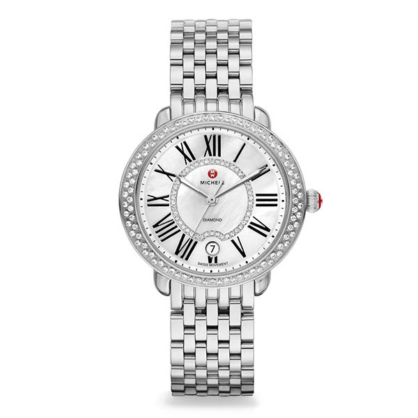 Michele Serein 16 Mother of Pearl Dial with Diamond Bezel Stainless Steel Watch