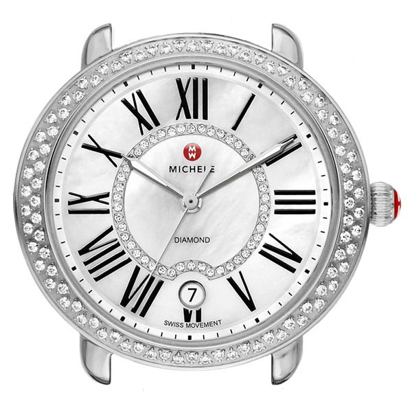 Michele Serein 16 Mother of Pearl Dial with Diamond Bezel Stainless Steel Watch Head View