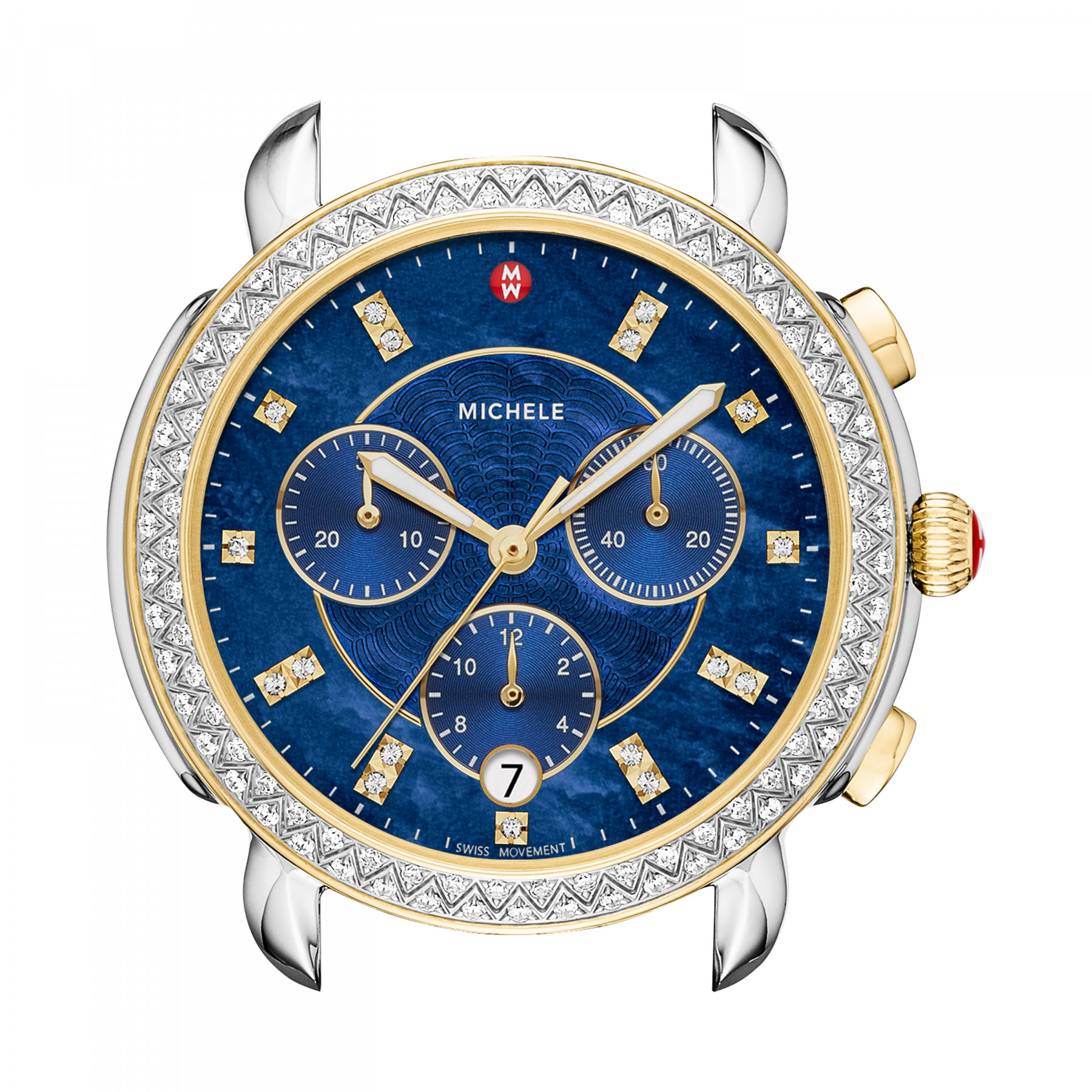 Michele Sidney Two Tone Chronograph Watch with Blue Diamond Dial alt image