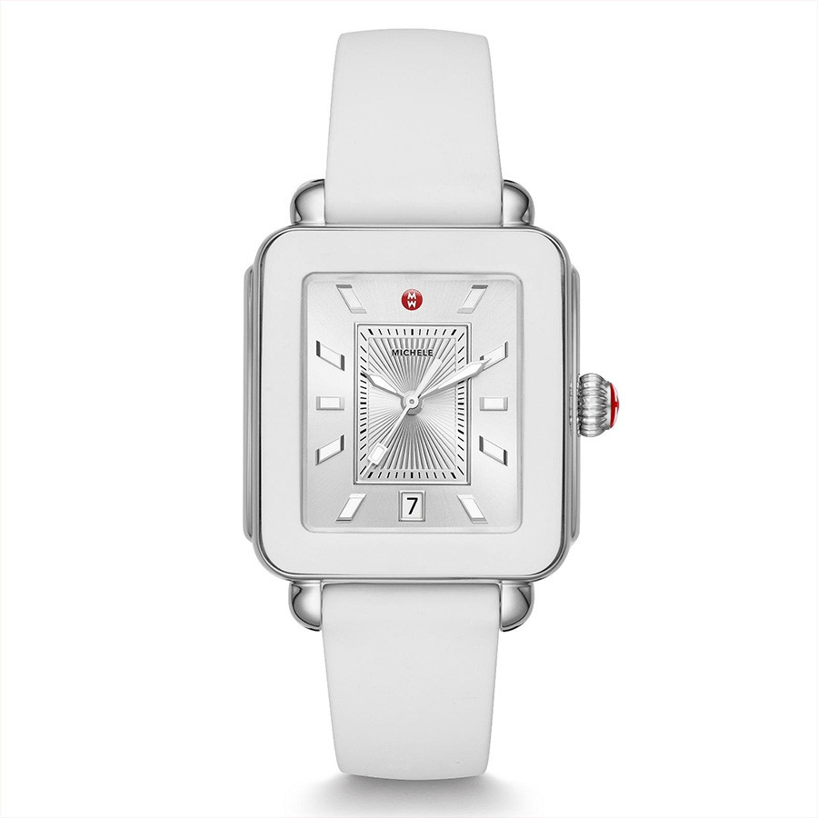 Michele Stainless Steel Deco Sport White Silicone Watch