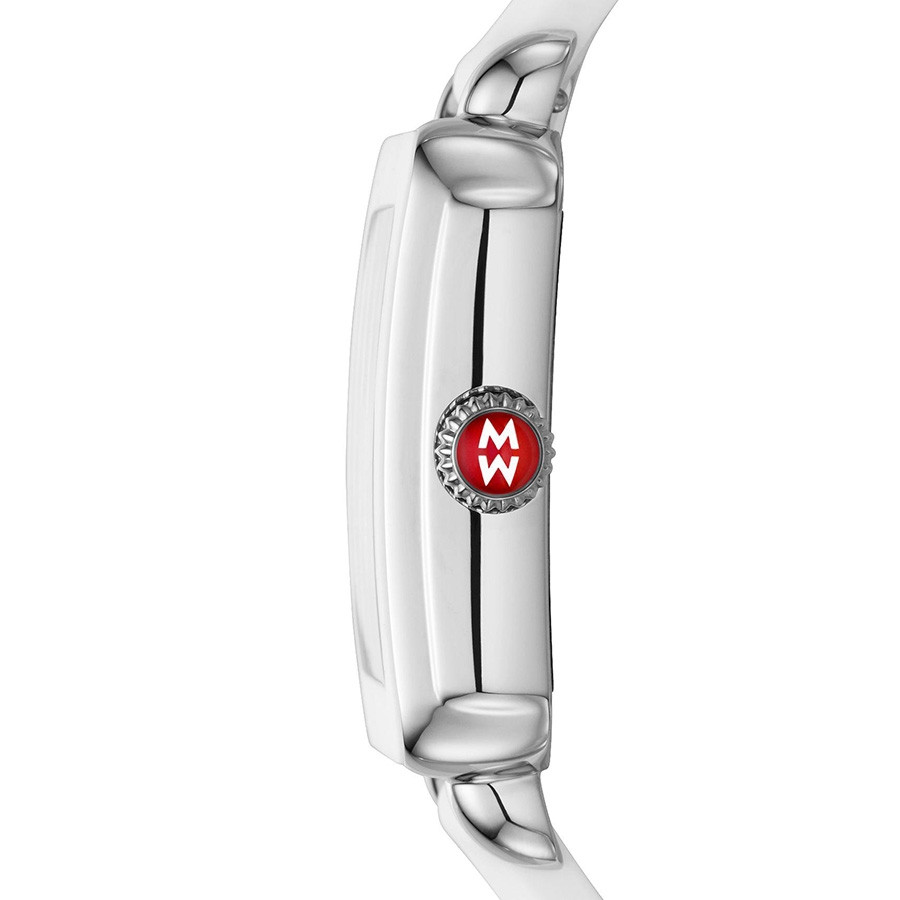 Michele Stainless Steel Deco Sport White Silicone Watch Side View