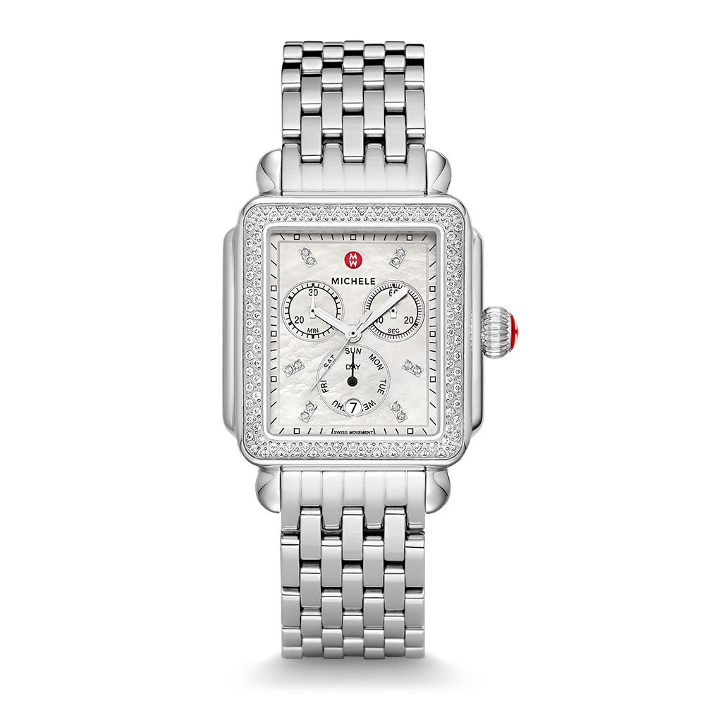 Michele Deco XL Mother of Pearl & Diamond Watch
