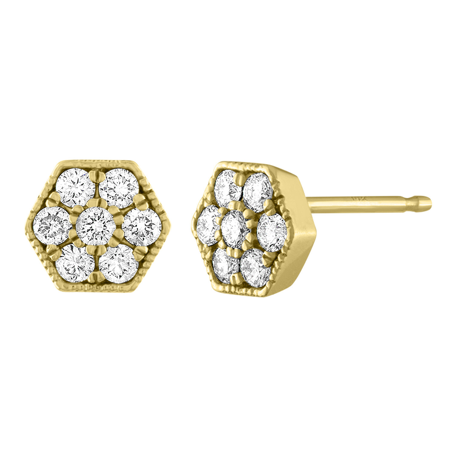 My Story Diamond and Gold Stud Earrings