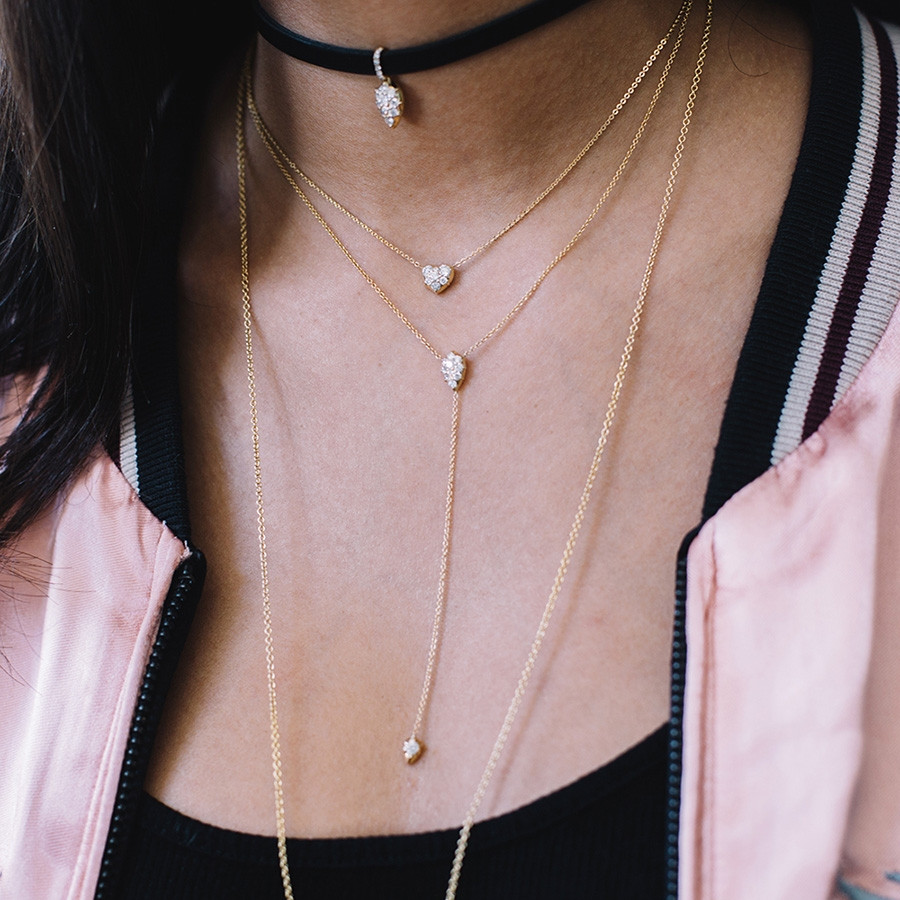 Carbon & Hyde Stella Rose Gold Diamond Lariat Necklace on Model