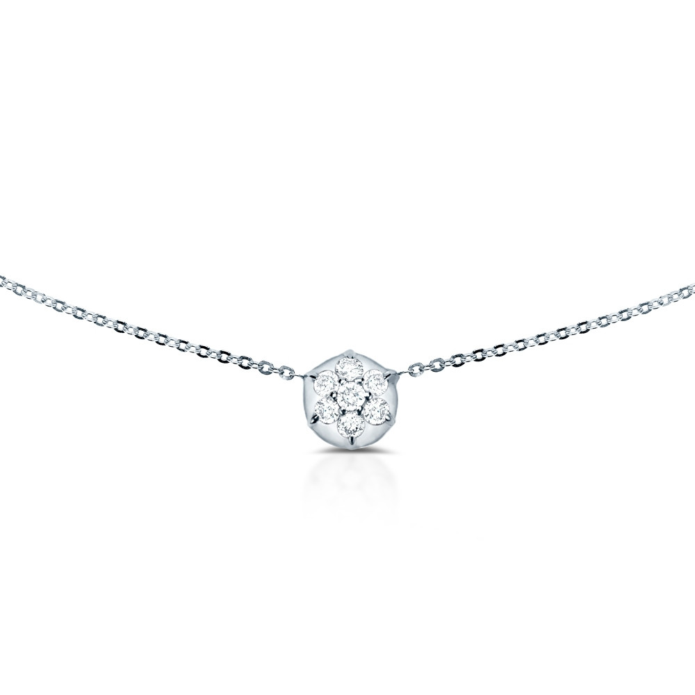 White Gold Bullet Diamond Choker Necklace by Carbon & Hyde