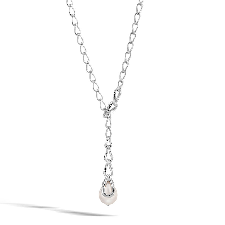 John Hardy Bamboo Silver Pearl Lariat Necklace