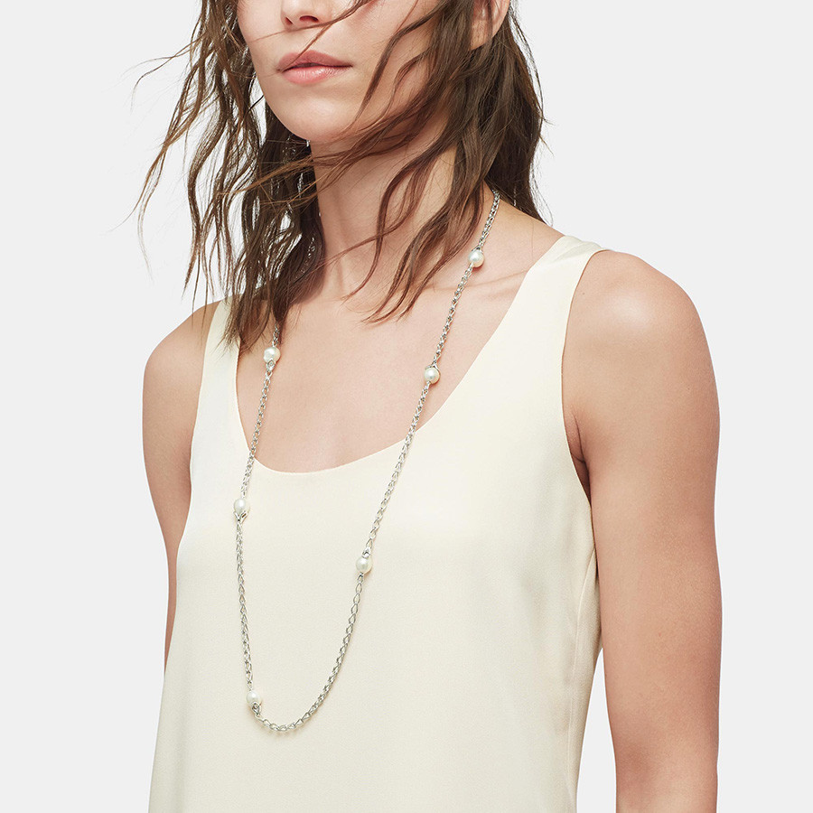 John Hardy Pearl Station Link Bamboo Necklace Model View