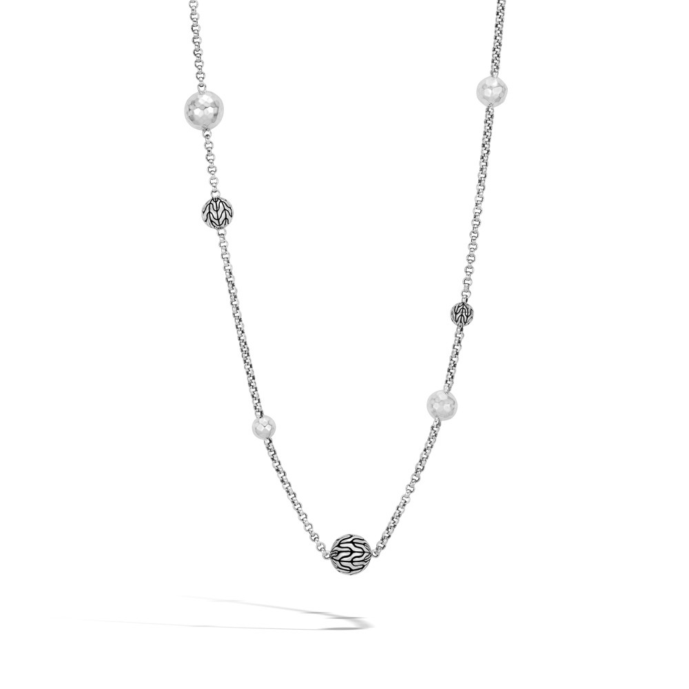 John Hardy Classic Chain Hammered Station Necklace in Sterling Silver