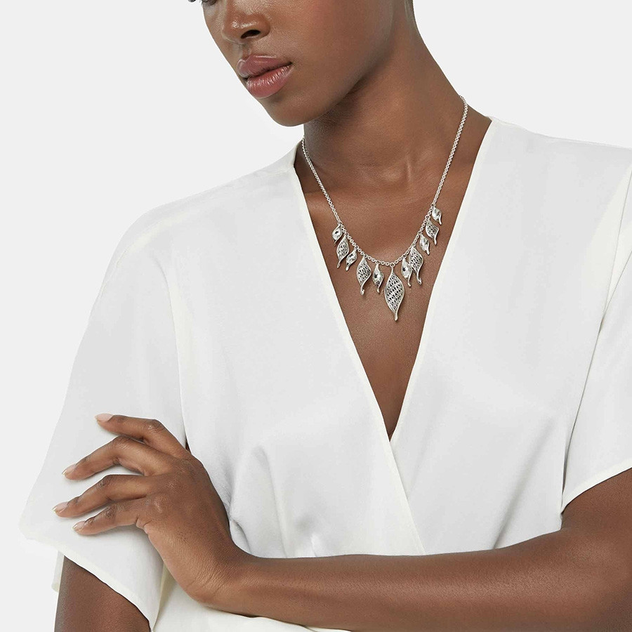 John Hardy Silver Classic Chain Multi Wave Pendant Necklace on Model