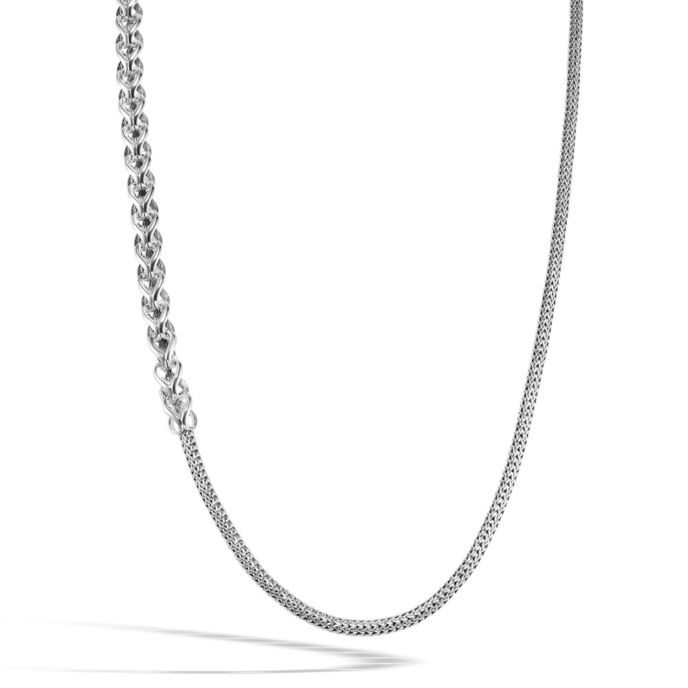 John Hardy Classic Chain Asli Silver Graduated Station Link Necklace