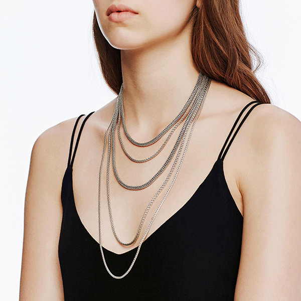 John Hardy Five Row Classic Chain Bib Necklace on Model