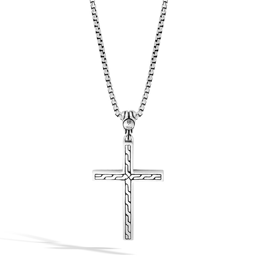 John Hardy Silver Jawan Cross Pendant Classic Chain Necklace Back View